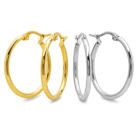 Stainless Steel Set Of 2 Hoops In Metallic And 18kt Gold Plated 35mm
