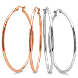 Ladies set of 2 Hoop Earrings 55mm