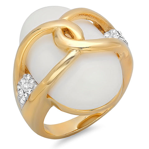 Ladies 18 KT Gold Plated Cocktail Ring with Mother of Pearl and Simulated Diamonds Accent