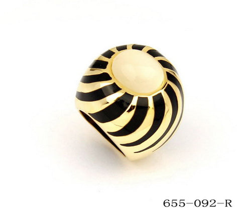 18K Gold Plated Ring With Black Stripe
