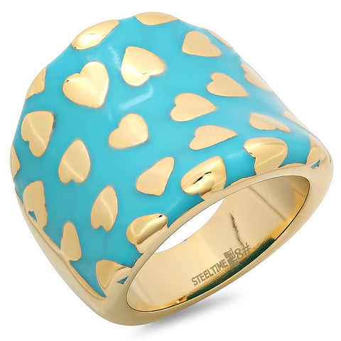 18K Gold Plated Ring With Heart Design & Blue Finish