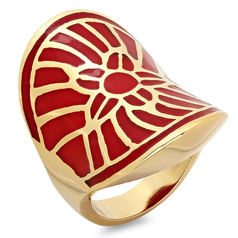 18K Gold Plated Ring With Floral Pattern Design