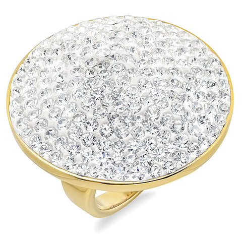 Ladies 18 KT Gold Plated Ring with Simulated Diamonds