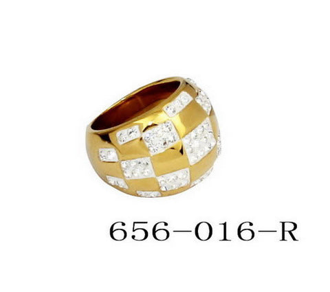 Men's 18 KT Gold Plated Ring w/Simulated Diamonds
