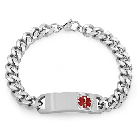 Steeltime Stainless Steel Curb Bracelet With Medical Accent