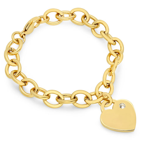 18kt Gold Plated Stainless Steel Bracelet with Heart Design & SW Stone Charm
