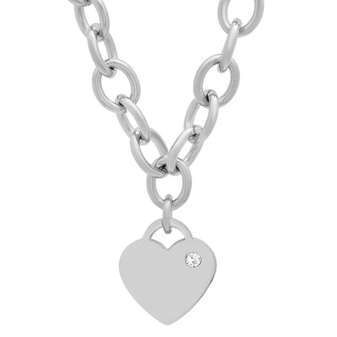 Ladies Stainless Steel Heart Design with CZ Stone Necklace