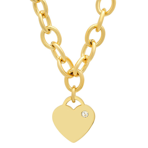 18k Gold Plated Stainless Steel Necklace Heart Design with CZ stone