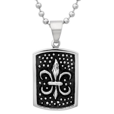 Stainless Steel ID Tag Pendant With Black IP And Stainless Steel Design