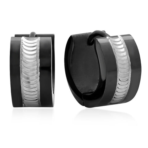 Black IP Huggie Earrings