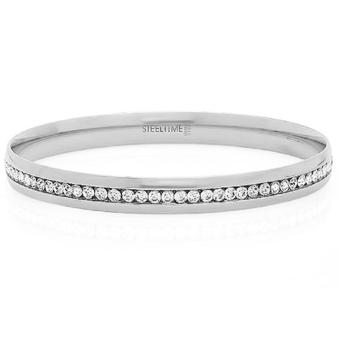 SIlvertone Eternity Simulated Diamond Bangle Bracelet
