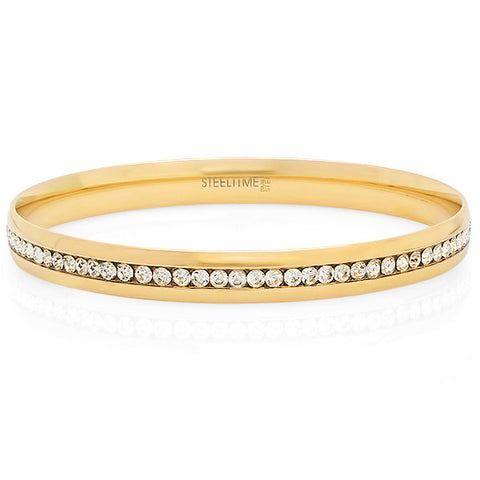 18 KT Gold Plated Bracelet with Simulated Diamonds
