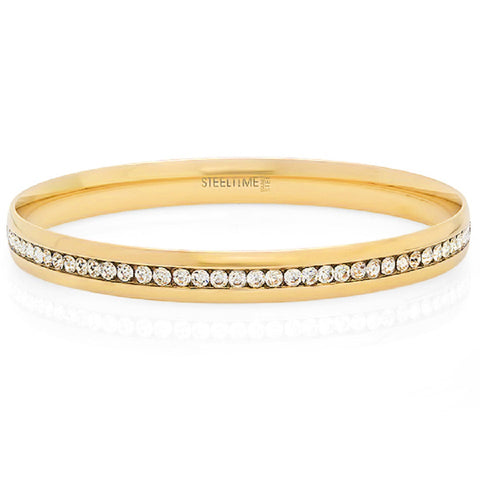 18k Gold Plated Eternity Simulated Diamond Bangle Bracelet