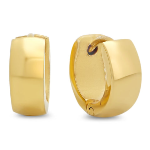 Ladies 18kt Gold Plated Stainless Steel Huggies Earrings