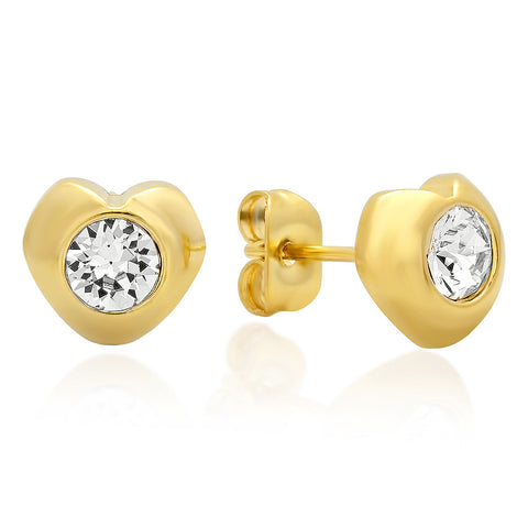 18kt Gold Plated Stainless Steel Heart Shape Stud Earrings with SW Stones