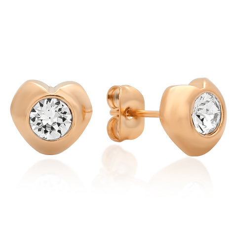 18kt Rose Gold Plated Stainless Steel Heart Shape Stud Earrings with SW Stones