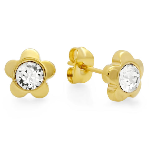 18kt Gold Plated Stainless Steel Flower Shape Stud Earrings with SW Stones
