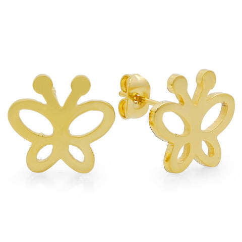 18k Gold Plated Stainless Steel Butterfly Earring Studs