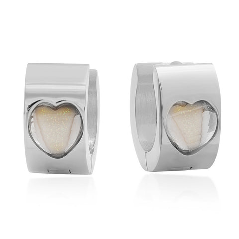 Stainless Steel Huggie Earrings With Heart Design