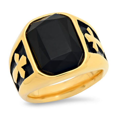 Men's 18k Gold Plated Black Onyx Ring with Cross Accents