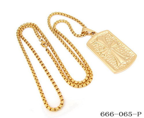 Steeltime 18 KT Gold Necklace with Cross Pendant Dog Tag