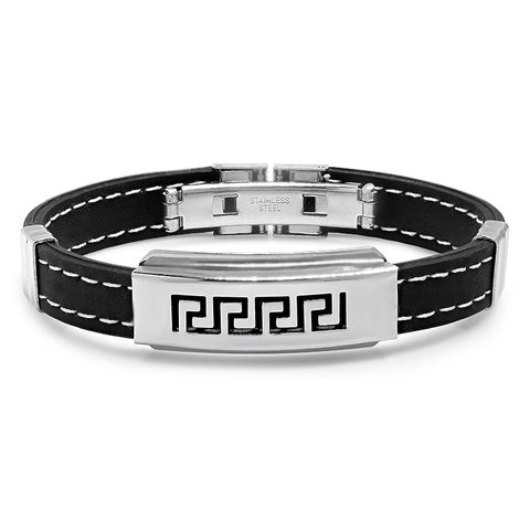 Men's Rubber Bracelet with Stainless Steel and Greek Design in Black
