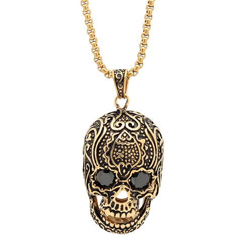 Steeltime 18k Gold Plated Stainless Steel Skull Head Necklace