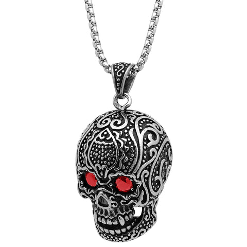 Steeltime Stainless Steel Red Stone Eyes Skull Head Necklace