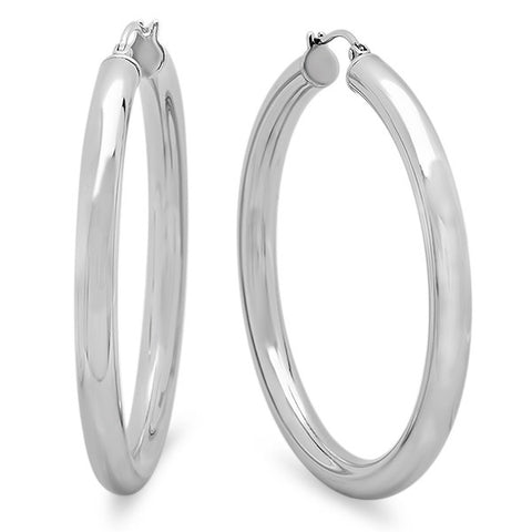 Ladies Stainless Steel Wide Hoop Earrings 55mm