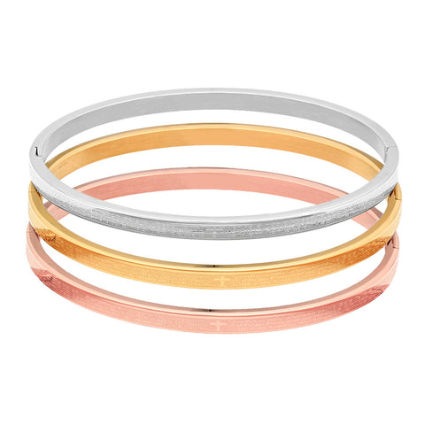 Stainless Steel Tri Color Bangles