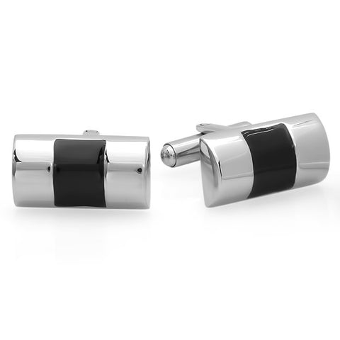 Men's Stainless Steel Striped Cufflinks
