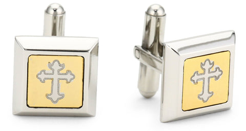 Two Tone Cross Cufflinks