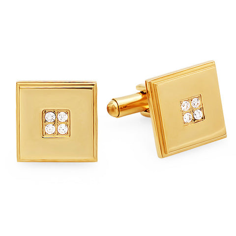 18k Gold Plated Square Cufflinks with Simulated Diamonds
