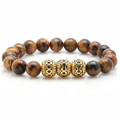 Tiger Eye Lava Stone Chakra Bracelet with 18 KT Gold Plated Accents
