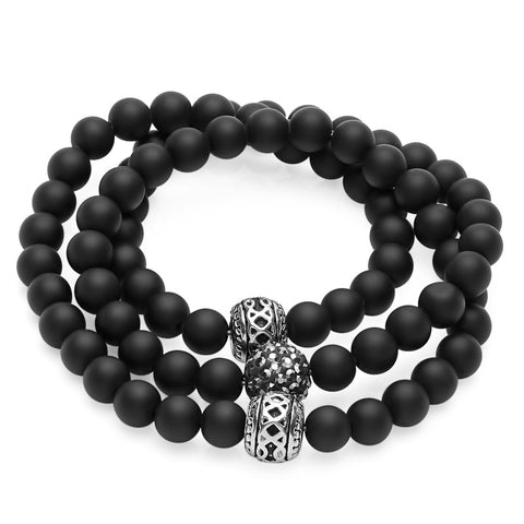 Steeltime Ladies Lava Black Bead Chakra Bracelet