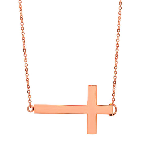 18 KT Rose Gold Plated Cross Necklace