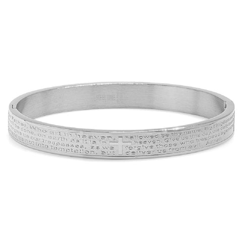 Steeltime Stainless Steel Lords Prayer Hinge Bangle Bracelet in English