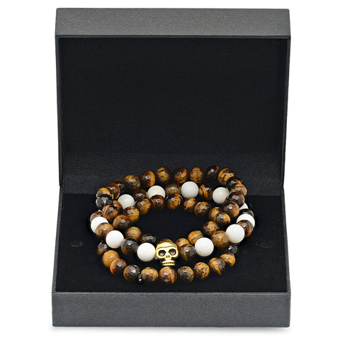 Set of 3 Tiger Eye Beaded and White Marble Beaded Bracelets Box