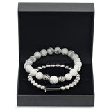 Silvertoned Beaded Bracelet and White Marble Silvertoned Beaded Bracelet Box Set