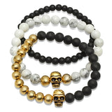 Set of 3 Beaded 18k Gold Plated Skull Bracelets