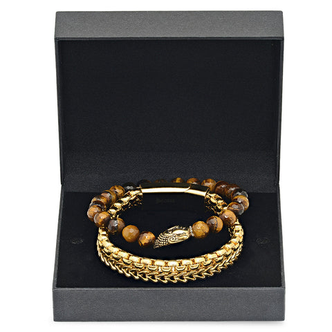 Tiger Eye Buddha and 18k Gold Plated Bracelets Box Set