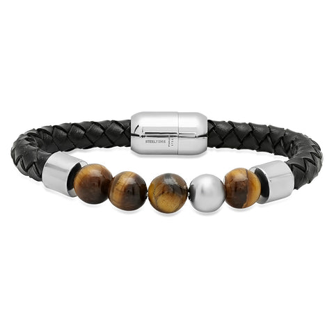 Genuine Leather Bracelet with Tiger Eye and Silvertone Beads