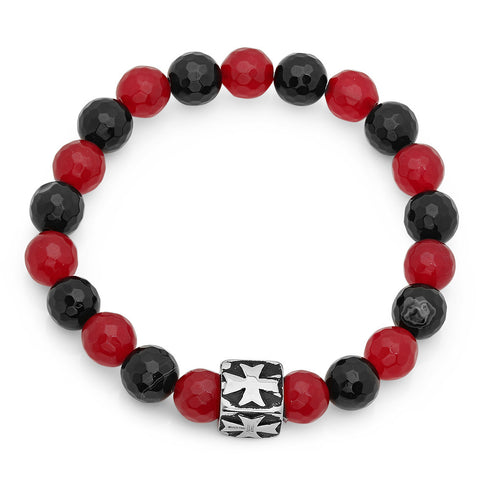 Simulated Onyx and Ruby Beaded Bracelet