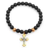 Black Lava and Stainless Steel Beaded Cross Bracelet