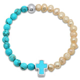 Freshwater Pearl Simulated Turquoise Stretch Bracelet