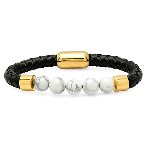 Genuine Leather Bracelet with Simulated White Marble Beads