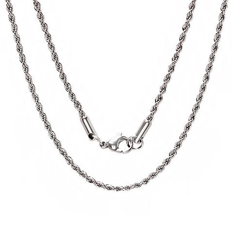 Stainless Steel Rope Chain Necklace 16""