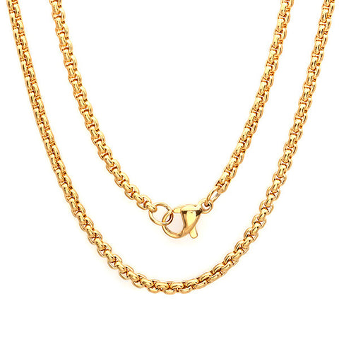 "Women's Stainless Steel Basic Chain Necklace 30"" in 18 KT Gold Plated 2.5mm"
