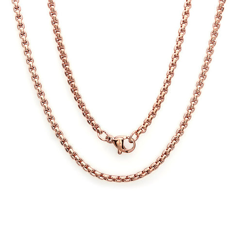 "Women's 18 KT Rose Gold Plated Basic Chain Necklace 18"" 2mm"