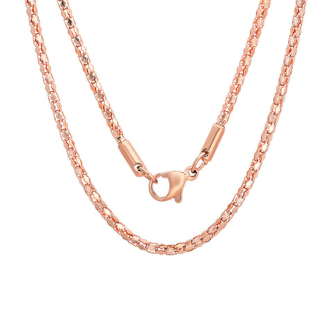 Ladies Popcorn Chain Necklace in 18 KT Rose Gold Plated - 30""